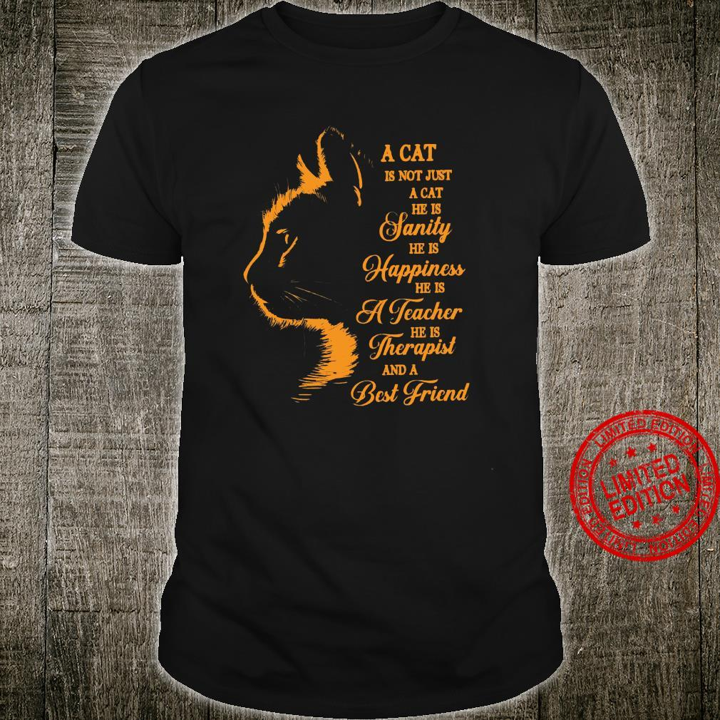 A Cat Is Not Just A Cat He Is Sanity He Is Happiness He Is A Teacher He Is Therapist And A Best Friend Shirt