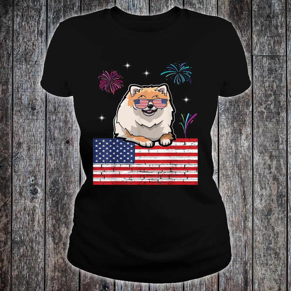Fireworks Pomeranian & US Flag Happy Independence Day Shirt ladies tee