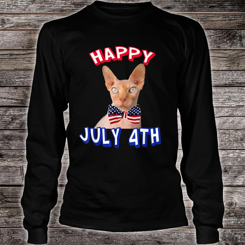 Happy July 4th. Independence Day Hairless Cats Bowtie Shirt long sleeved