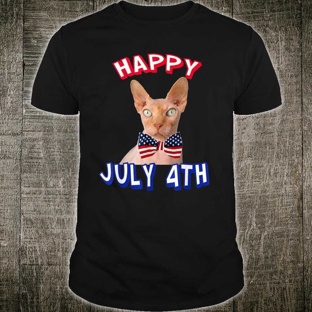 Happy July 4th. Independence Day Hairless Cats Bowtie Shirt
