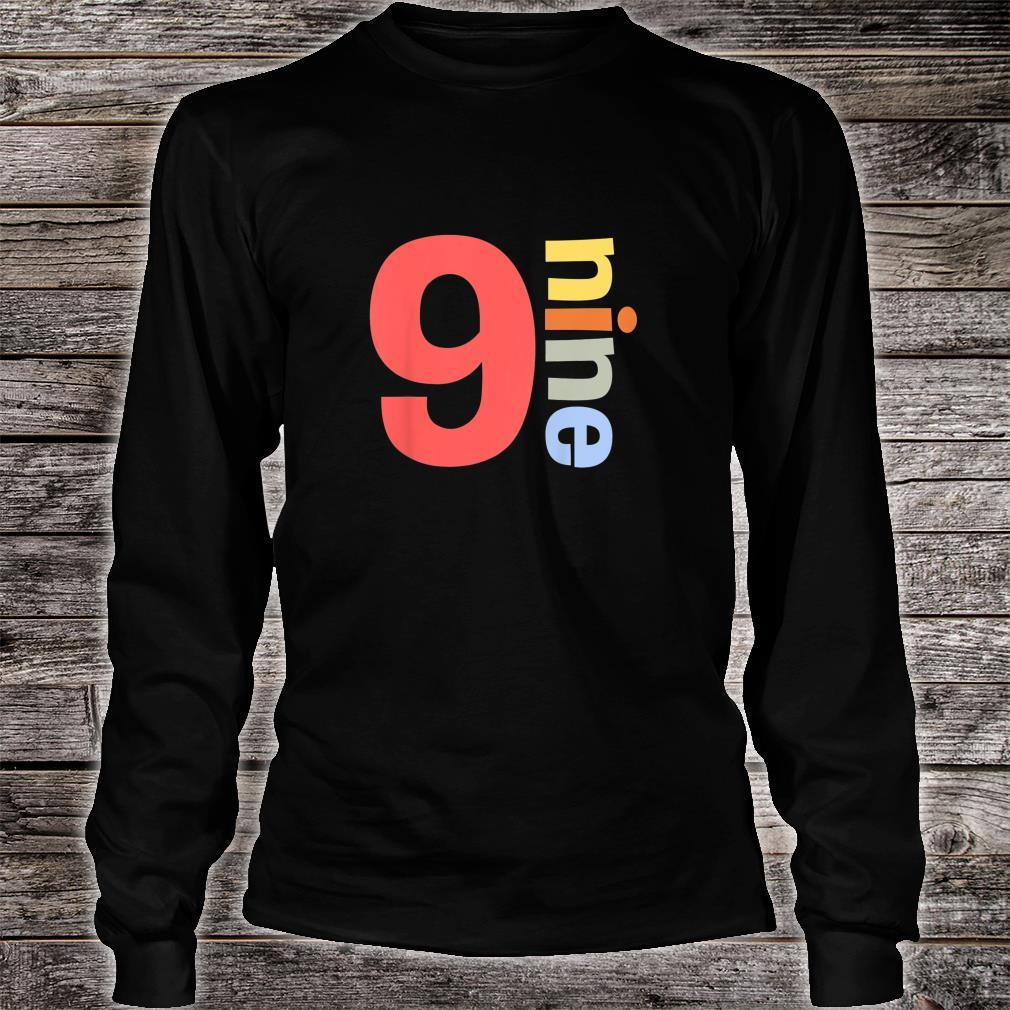 Kids Happy 9th Birthday Nine 9 Colorful Years Old Shirt Simple Shirt long sleeved