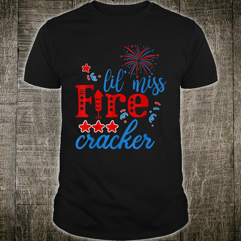 Little Miss Firecracker Party freedom Independence Day Shirt