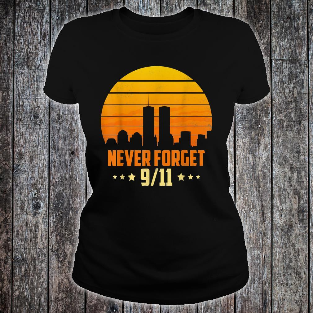 Never Forget 911 20th Anniversary Patriot Day American Retro Shirt ladies tee