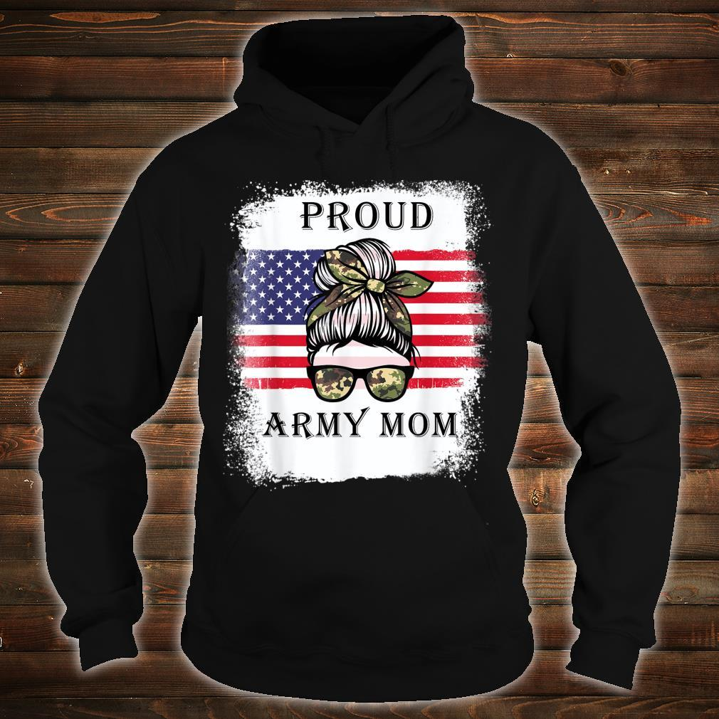 Proud Army Mom Camouflage Messy Bun Soldier Mother's Day Shirt hoodie
