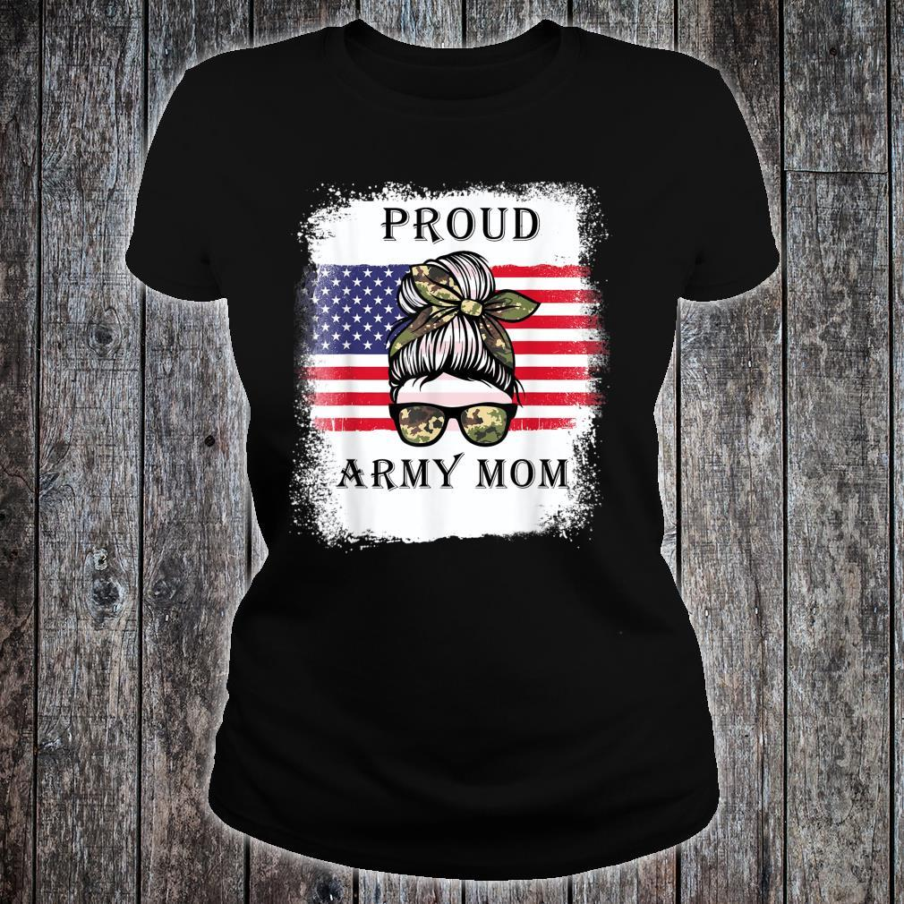 Proud Army Mom Camouflage Messy Bun Soldier Mother's Day Shirt ladies tee