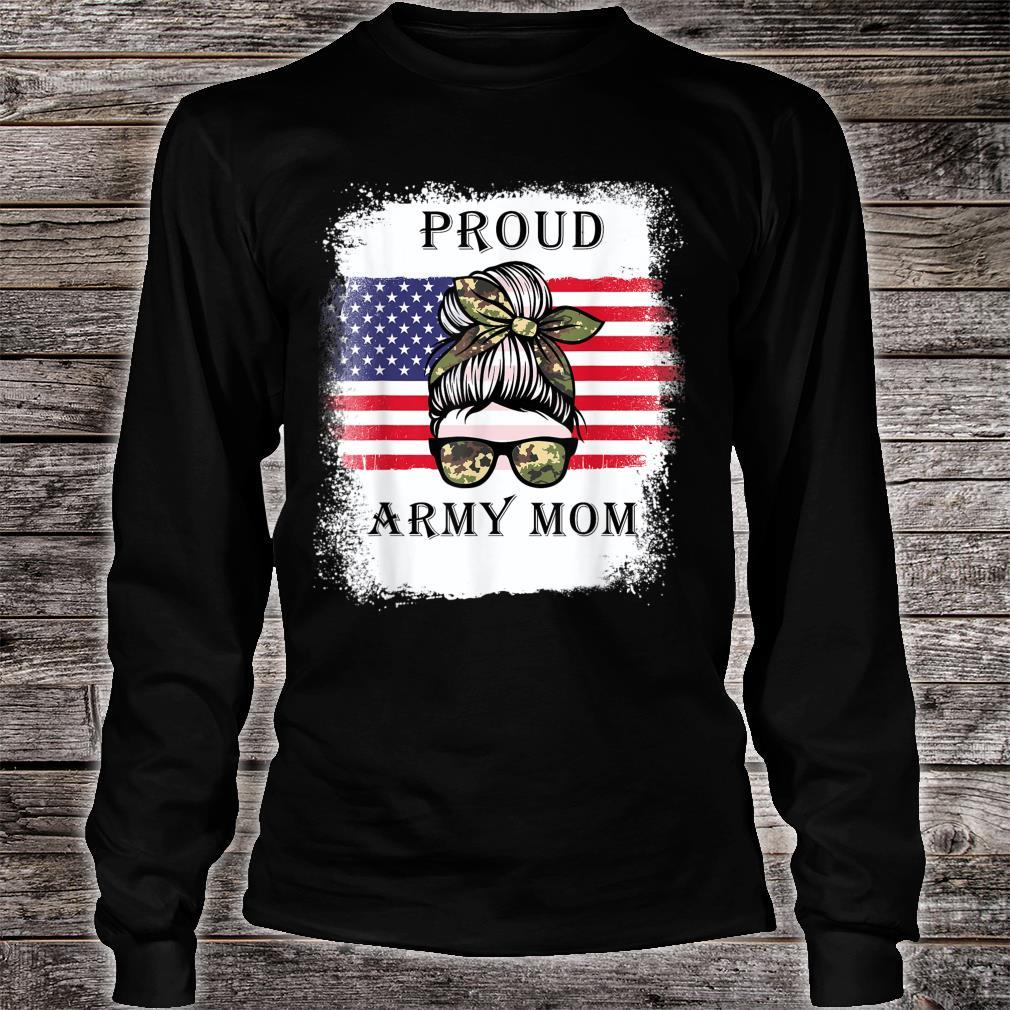 Proud Army Mom Camouflage Messy Bun Soldier Mother's Day Shirt long sleeved