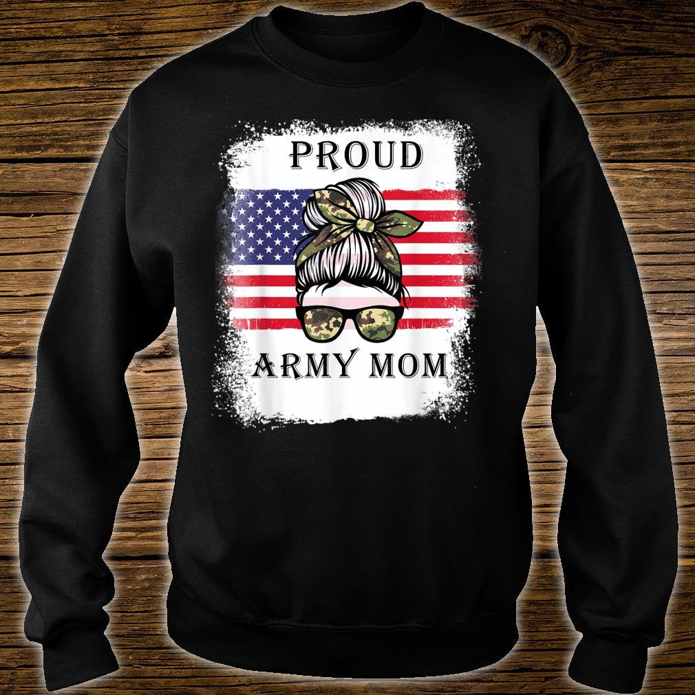 Proud Army Mom Camouflage Messy Bun Soldier Mother's Day Shirt sweater