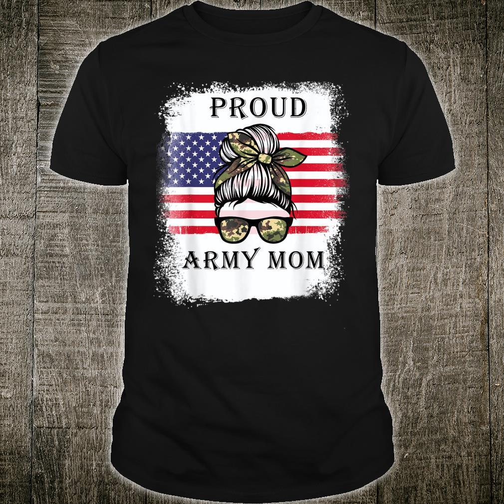 Proud Army Mom Camouflage Messy Bun Soldier Mother's Day Shirt